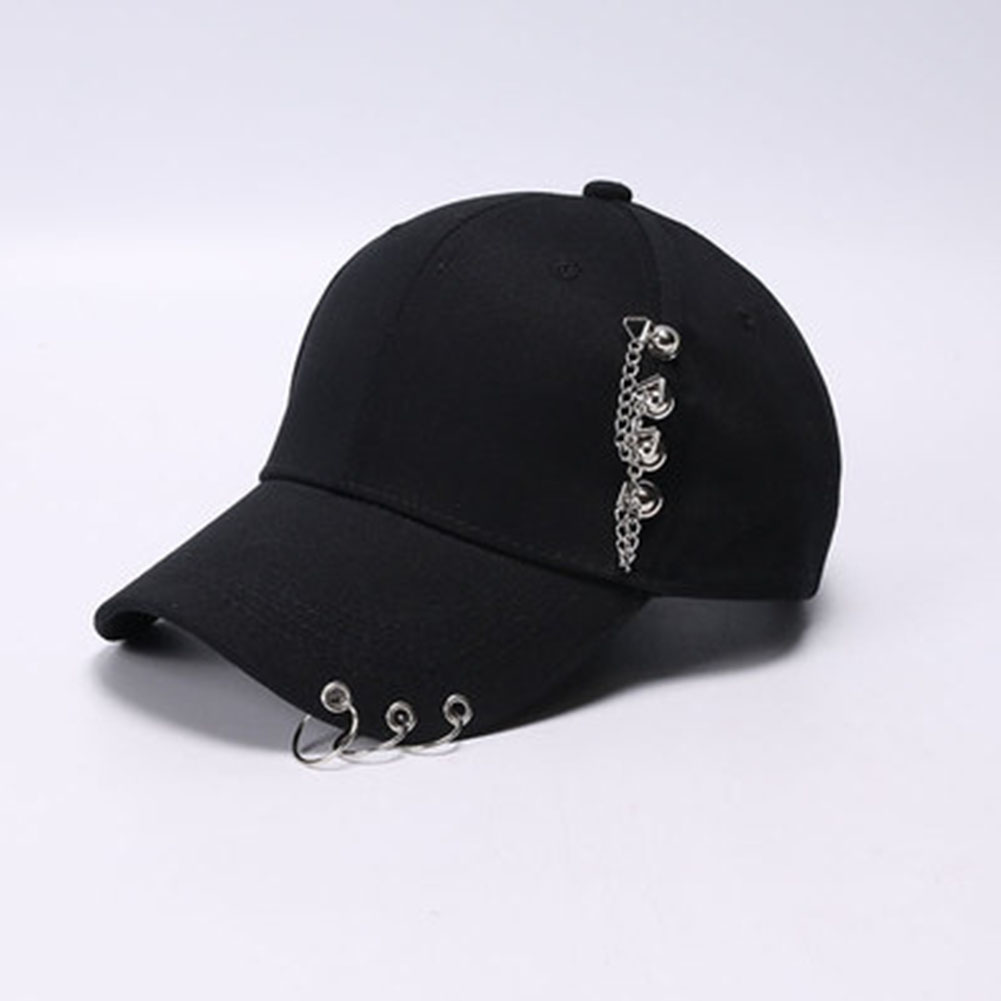 Cool All Match Chain Iron Ring Baseball Cap black