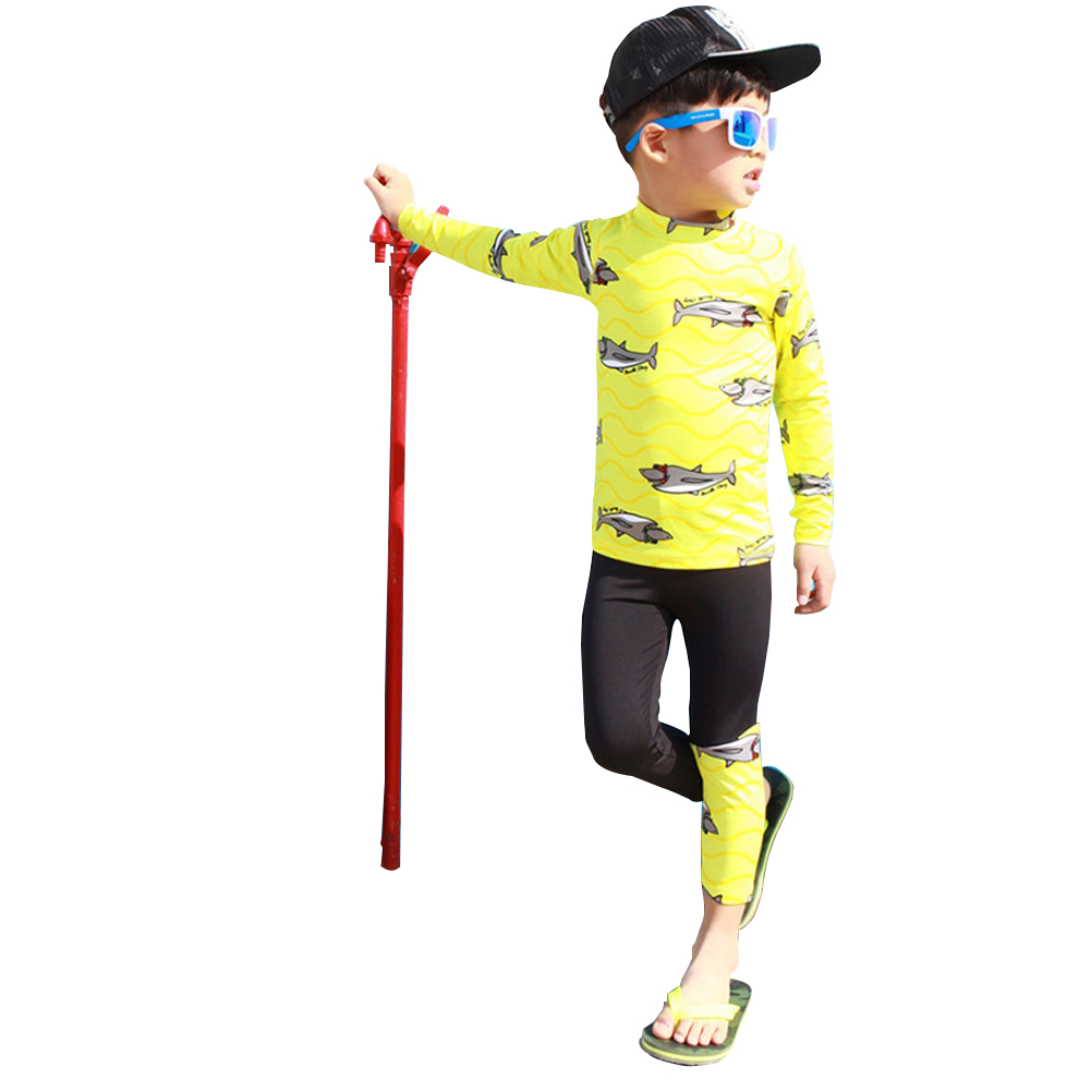 Kids Boys Cartoon Sunscreen Quick Dry Swimming Long Sleeve Tops Trousers  yellow_L