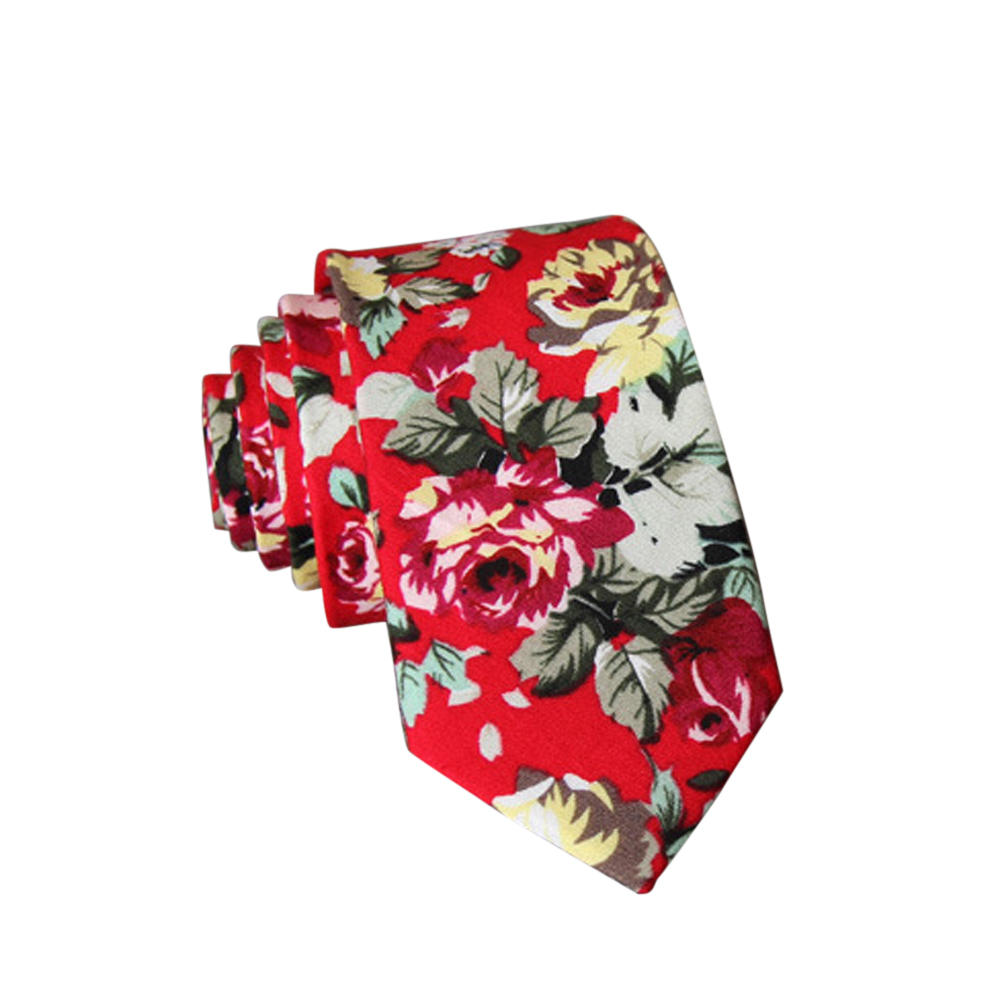 Men's Wedding Tie Floral Cotton Necktie Birthday Gifts for Man Wedding Party Business Cotton printing-028