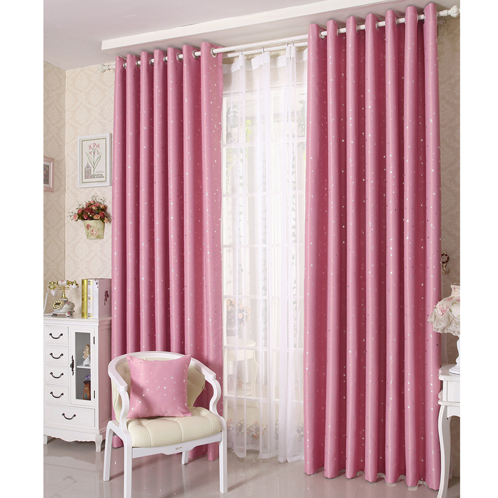 Home Shading Window Curatin Silver Star Printing Vetical Window Screening for Living Room Bedroom Pink_100*130cm
