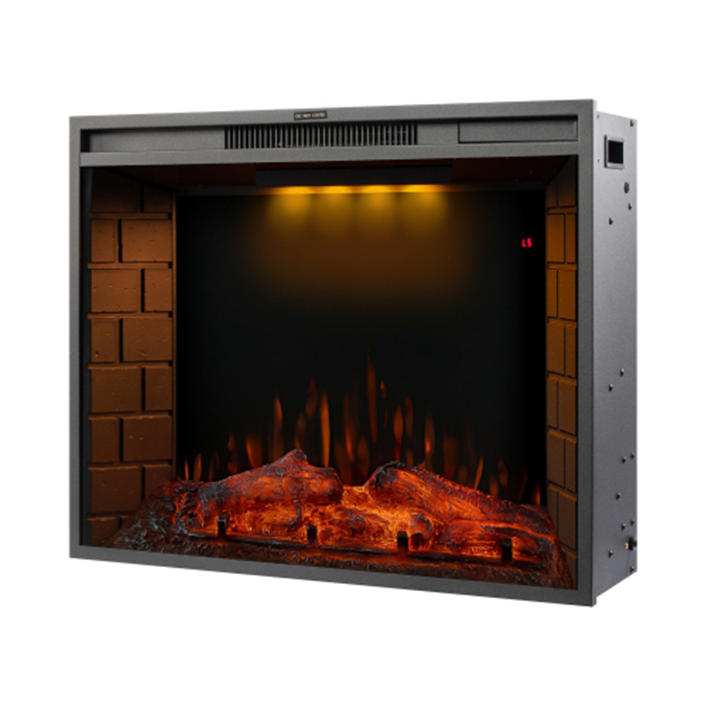 [US Direct] 28-inch  Led Embedded 1500w Electric  Fireplace With 3 Top Light Colors Remote Control black