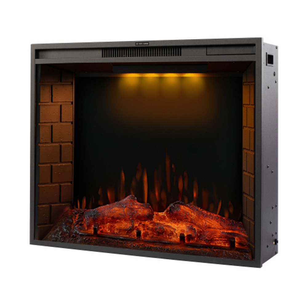 [US Direct] 30-inch Led Embedded 1500w Electric  Fireplace With 3 Top Light Colors Remote Control black