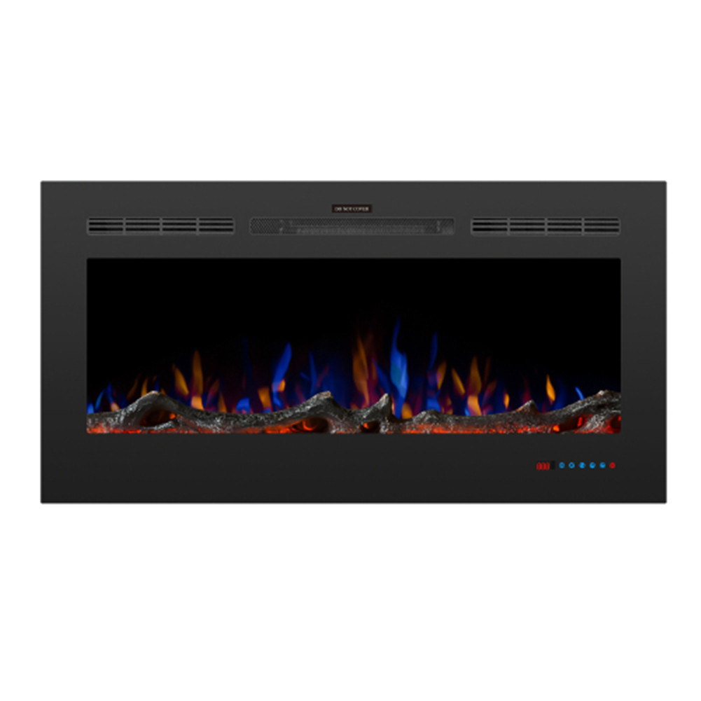 [US Direct] 42-inch LED Embedded 1500w Electric Fireplace With 3 Flame Colors Remote Control black