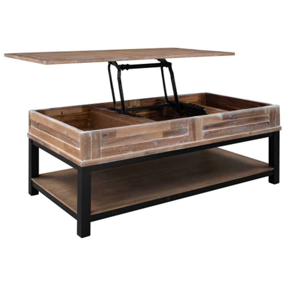 [US Direct] Mdf Board U-shaped Lift Type Coffee Table With Internal Storage Space Shelf brown