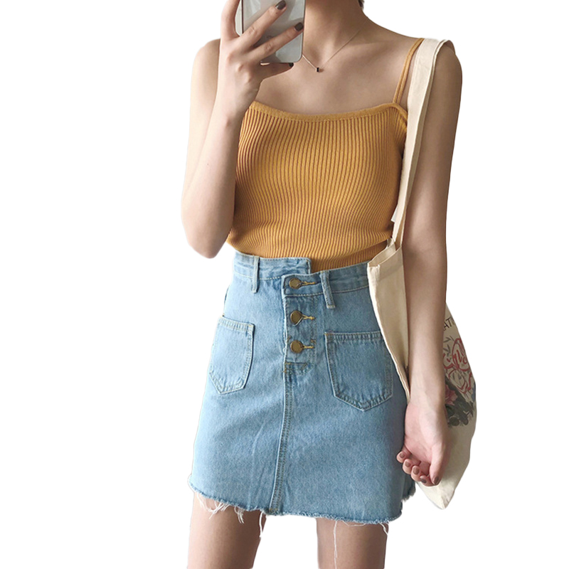 Women's Vest Spring Summer Knitted Camisole Slim Solid Color Bottom Vest yellow_free size