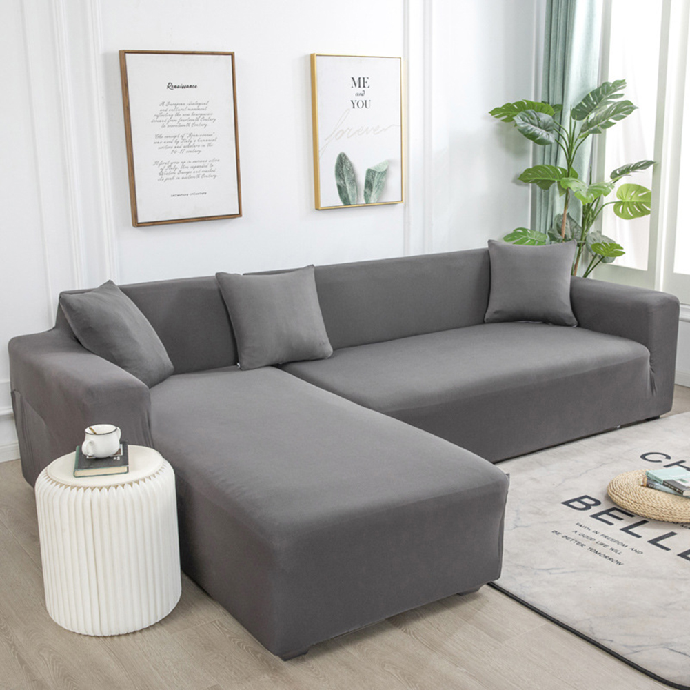 Universal Cloth Sofa Covers for Living Room Elastic Spandex Slipcovers gray_Four persons (applicable to 235-300cm)