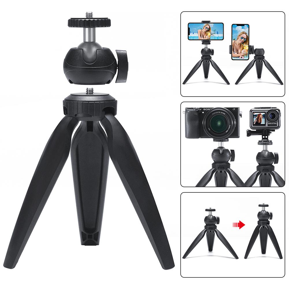 Phone Tripod Swivel Ball Head Tripod Mount for Photography Video Shooting black