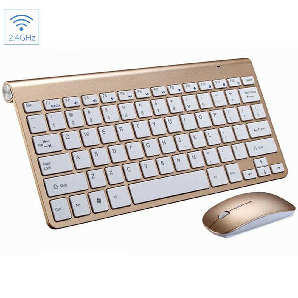 Mini Wireless Keyboard Mouse Set Waterproof 2.4G for Mac Apple PC Computer Gold