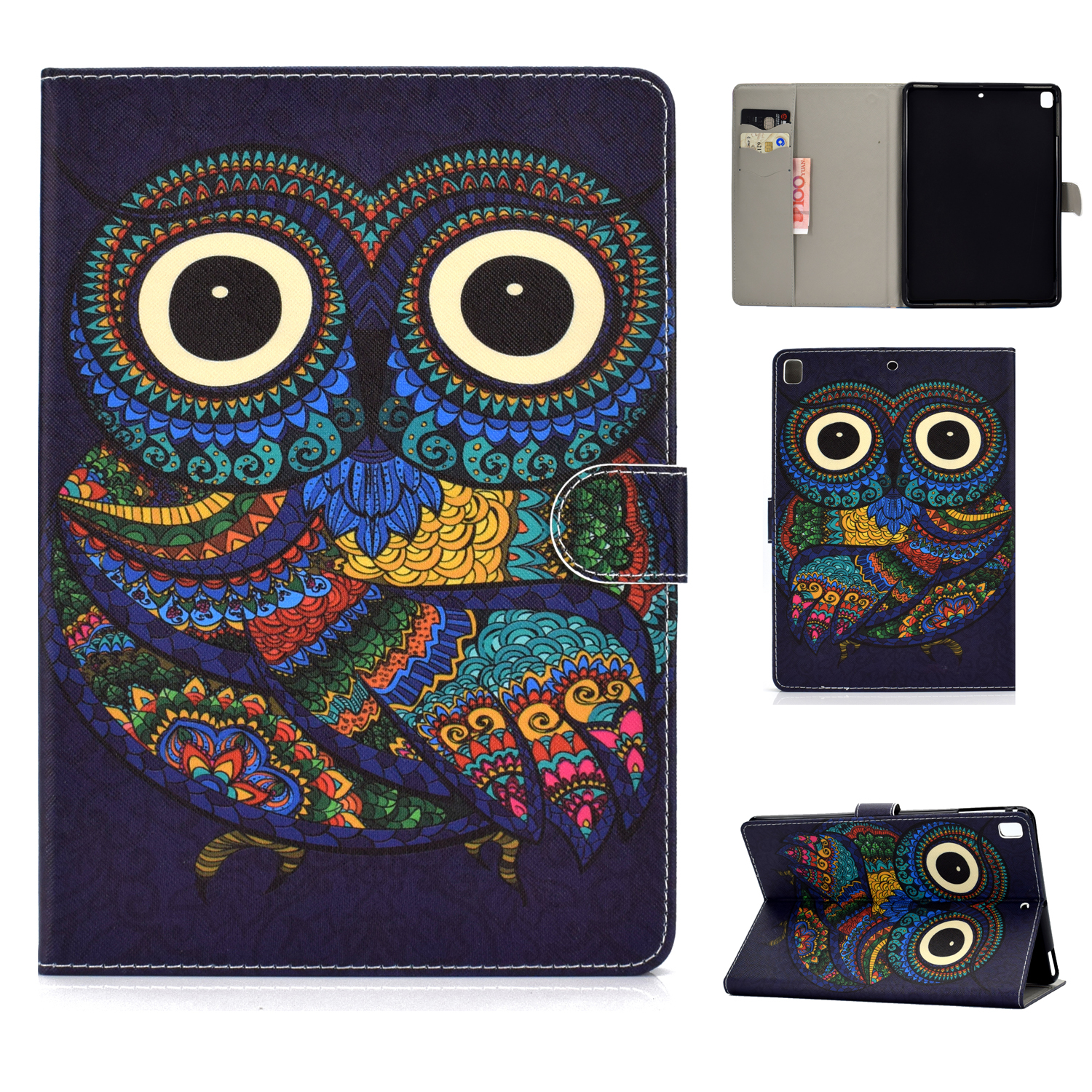 For iPad 5/6/7/8/9-iPad Pro9.7-iPad 9.7 Laptop Protective Case Color Painted Smart Stay PU Cover owl