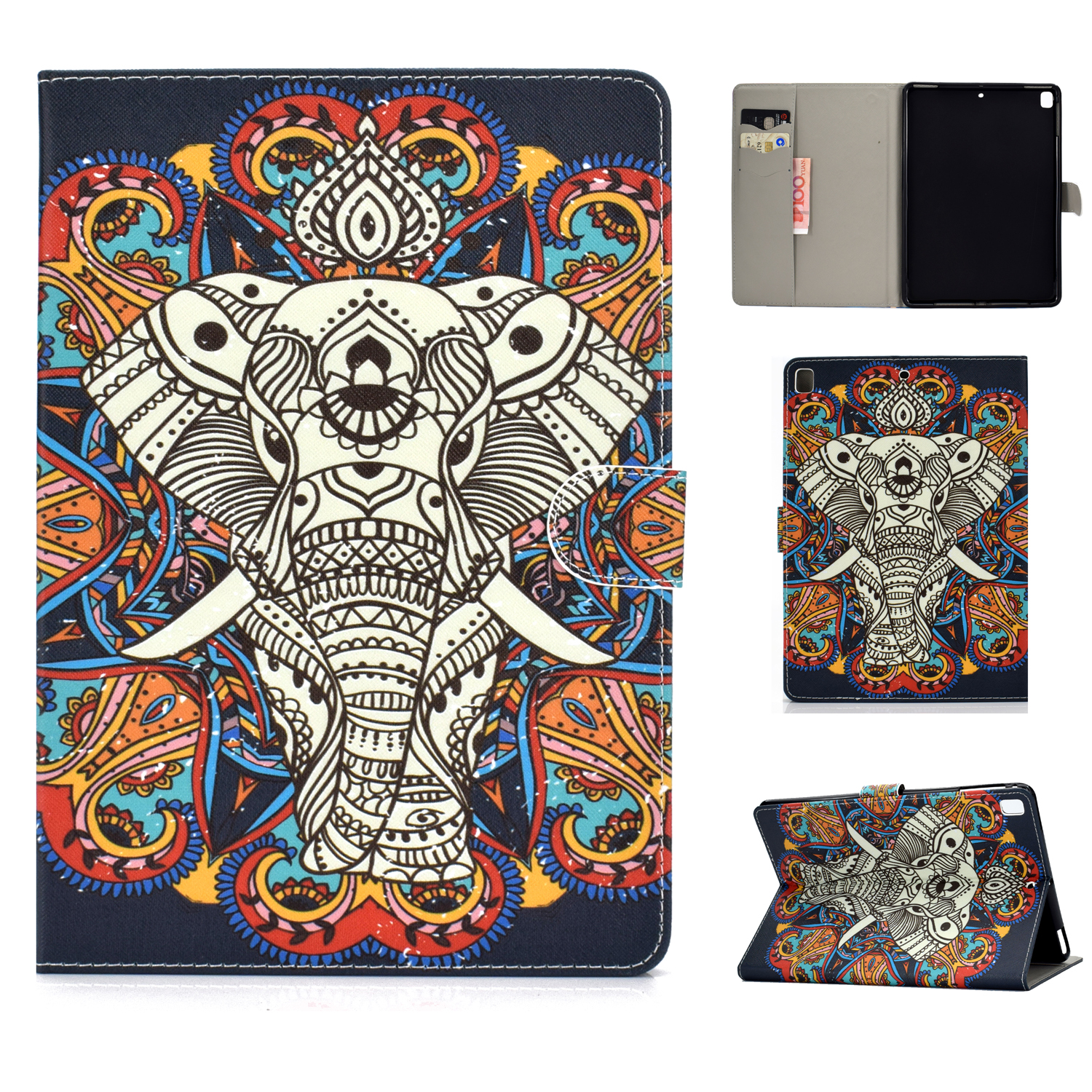 For iPad 5/6/7/8/9-iPad Pro9.7-iPad 9.7 Laptop Protective Case Color Painted Smart Stay PU Cover Fun elephant