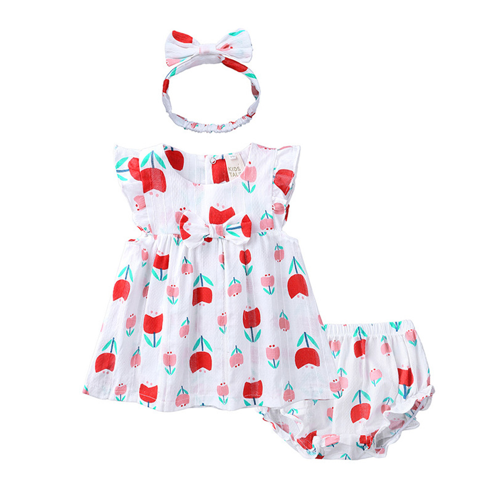 Infant Baby Toddler Sweet Strawberry Round Neck Short Sleeve Princess Dress+Shorts+Headband Three Piece Suit Outfit QZ4058R Tulip_110