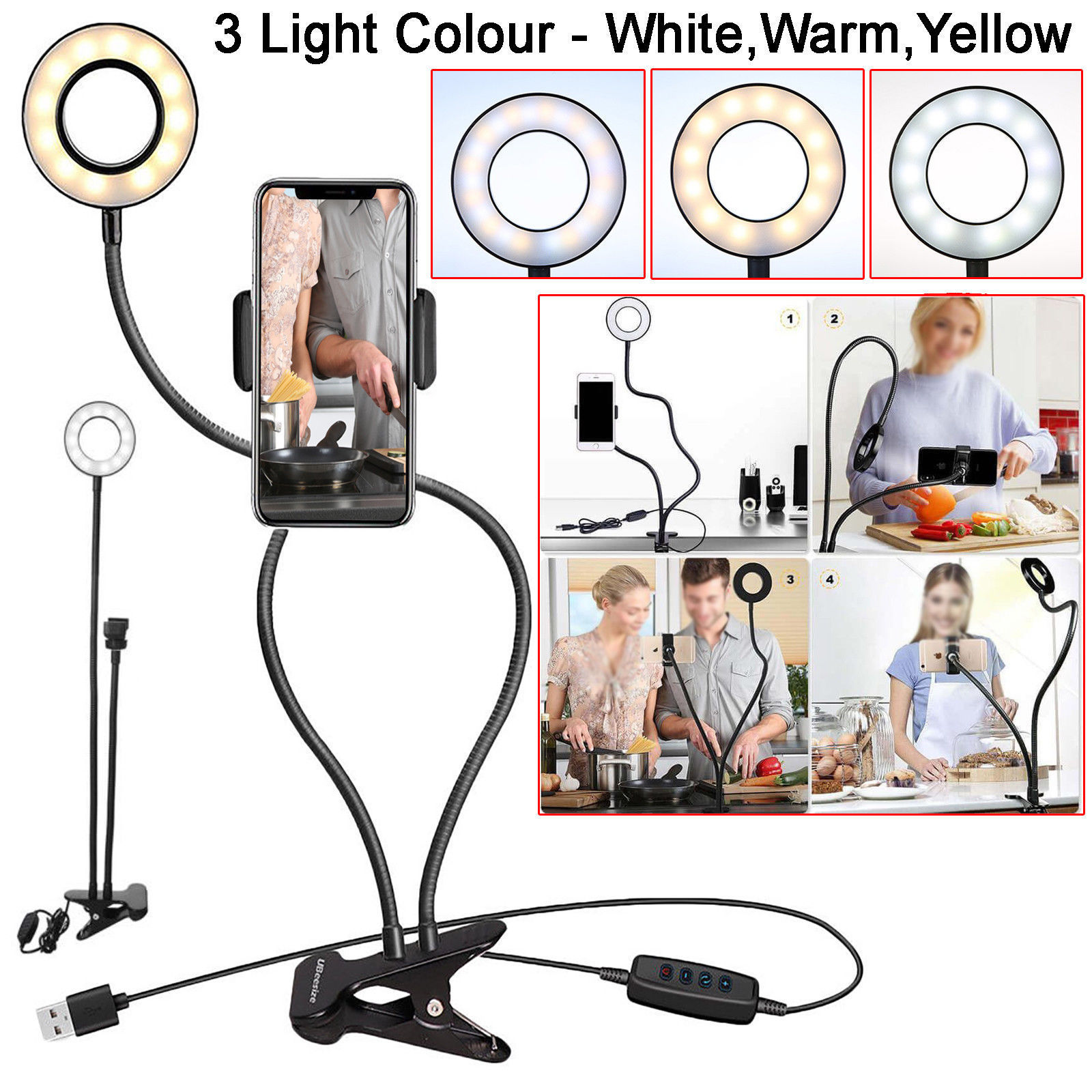 Selfie Flash Ring Light Mobile Phone Holder 24 LED Camera Long Arm USB Clip black