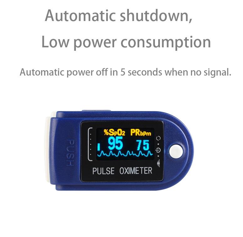 Finger Oximeter OLED Display Blood Oxygen Monitor Oximeter Oxygen Saturation Monitor Navy blue