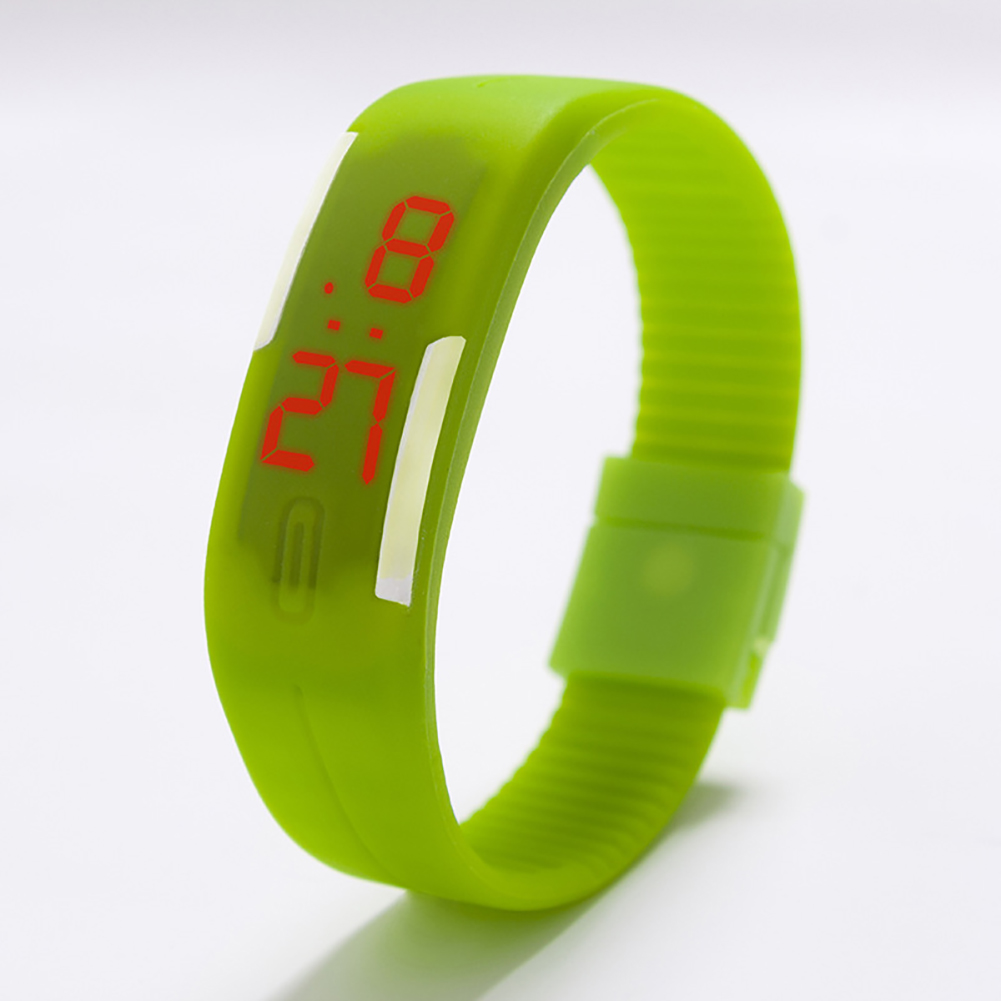 Fashion Top Brand Luxury Unisex Men's Watch Silicone Red LED Sport Watch Touch  green