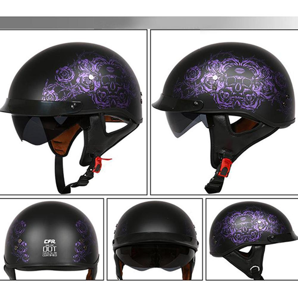 Retro Helemt Half Face Motorcylce Hat FRP Prince Helmet Sub-black deep purple rose L
