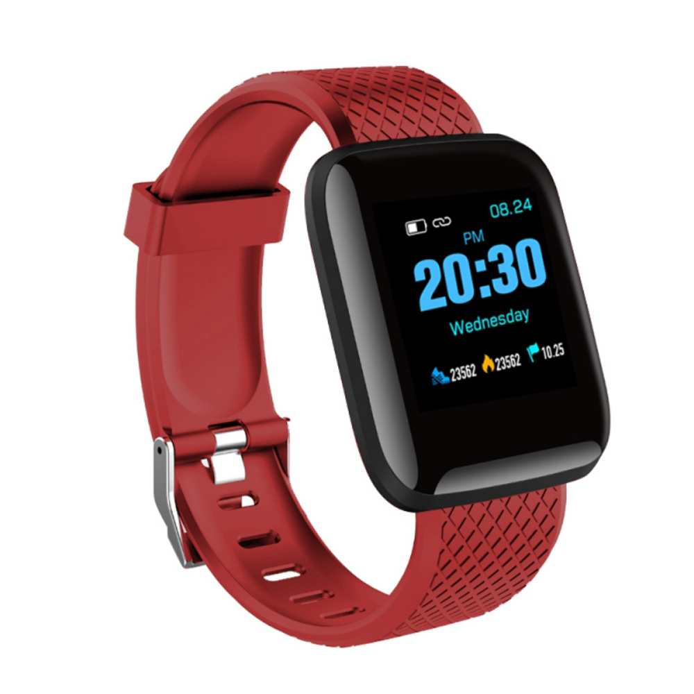 1.3inch Smart Bracelet Fitness Tracker Heart Rate Blood Pressure Monitor Smart Band IP67 Waterproof Sports For Android iPhone red