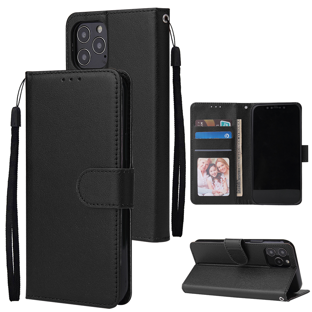 For Iphone 12 5.4 inch/6.1 inch/ 6.7 inch PU Leather Three-card Photo Frame Front Buckle Mobile Phone shell black