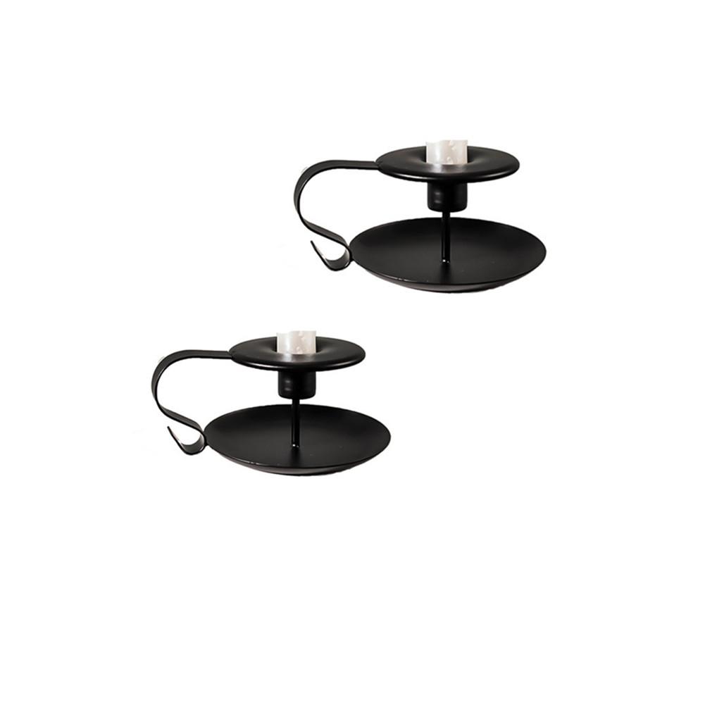 2pcs/set Golden Teacup Candle  Holder Incense Burner Wedding Party Table Top Decoration Black
