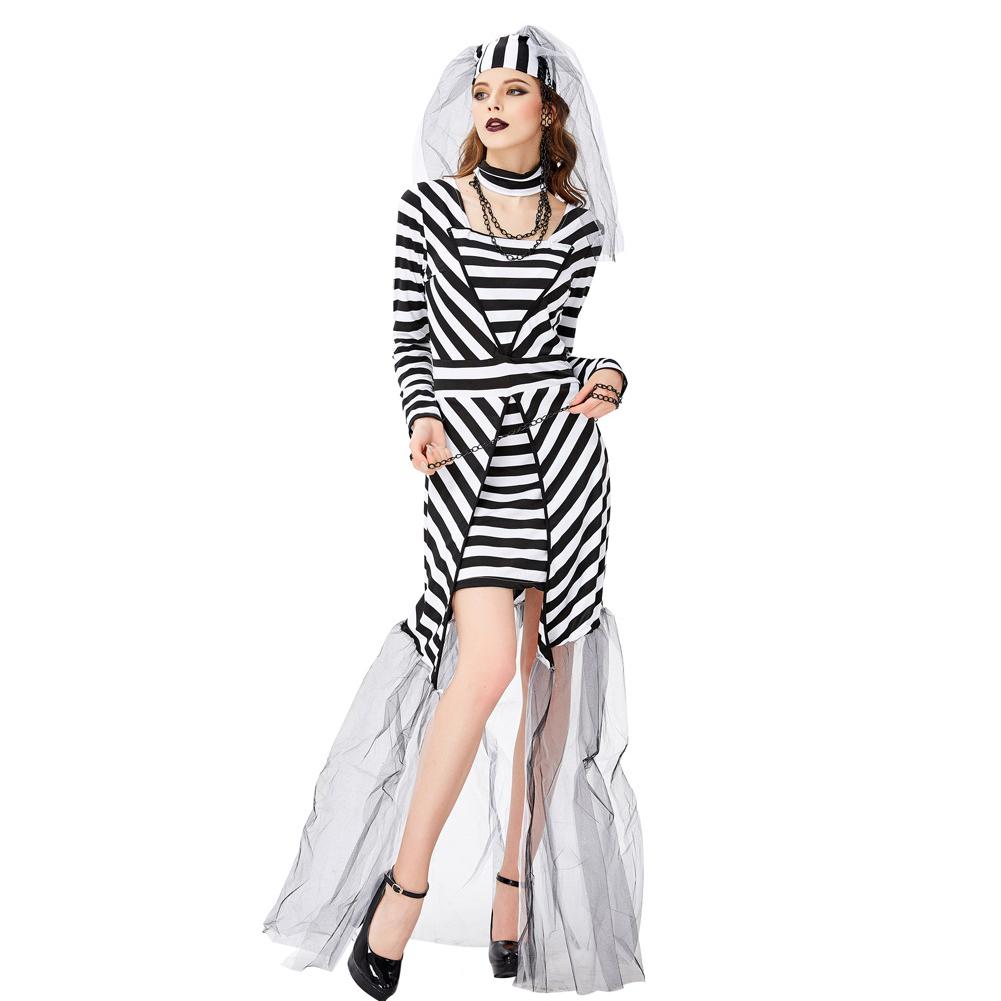 Womens Jailhouse Prisoner Costume Halloween Bride Dress Cospaly Costume 3329_S