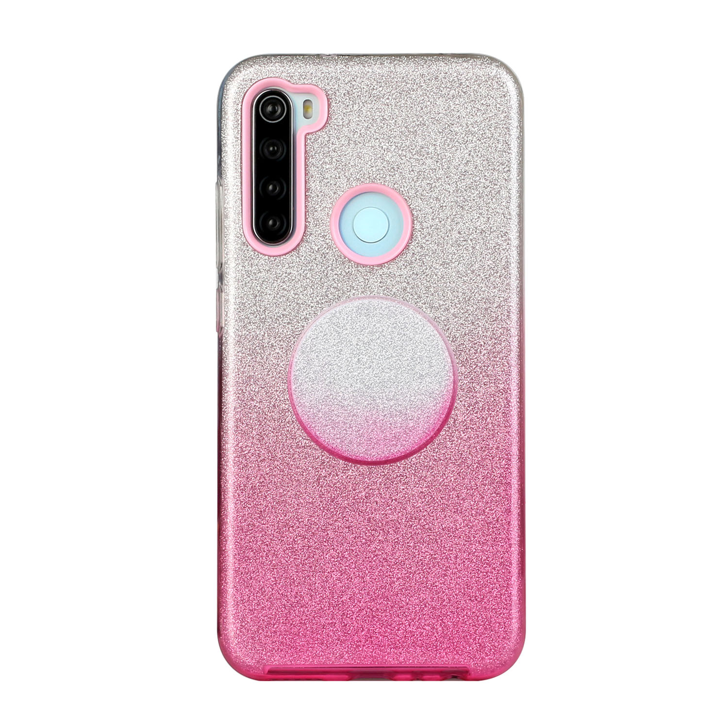 For OPPO Realme 5/Realme 5 Pro/A5 2020/A9 2020/A52/A92 Phone Case Gradient Color Glitter Powder Phone Cover with Airbag Bracket Pink