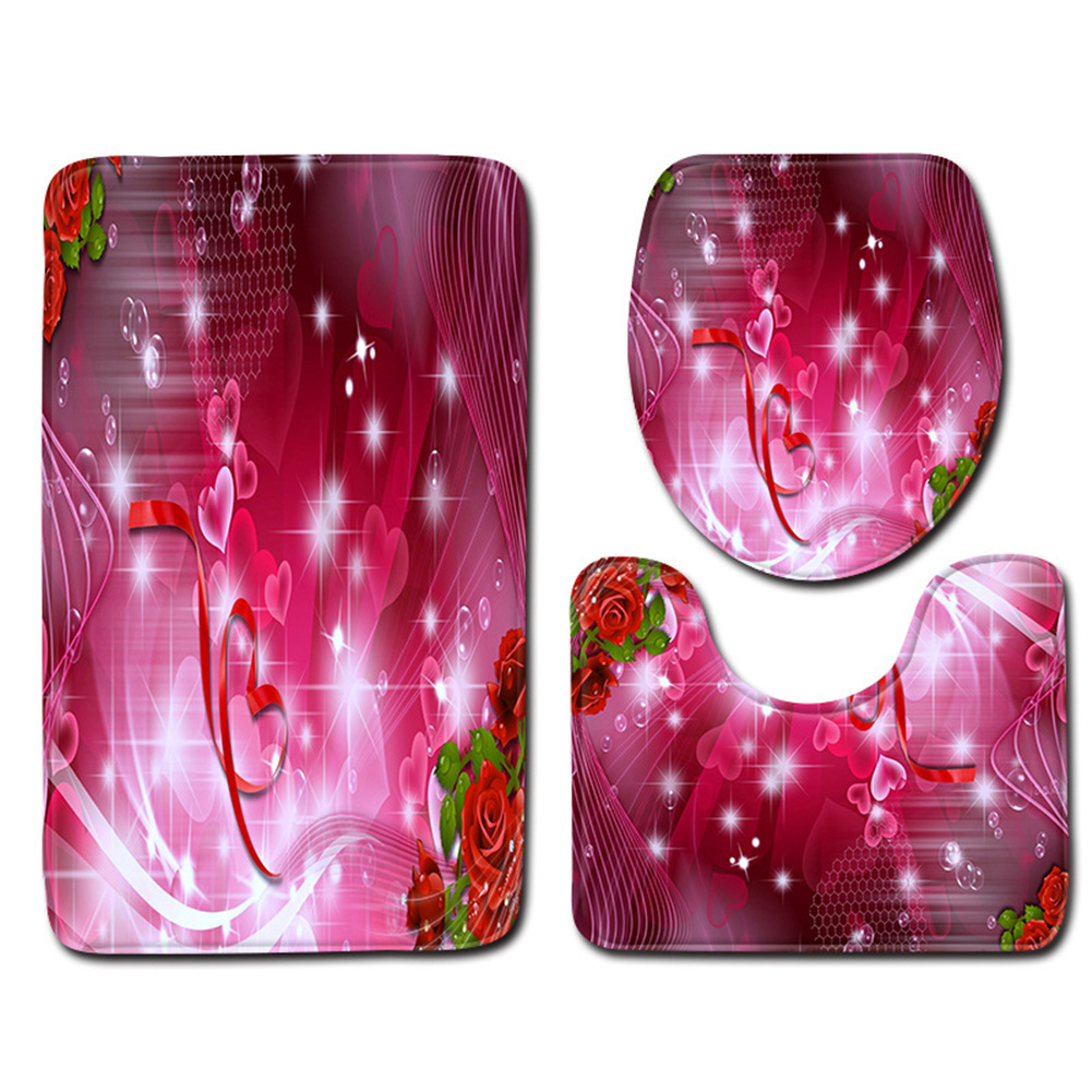 3pcs Bathroom  Rug Toilet  Contour  Mat Lid  Cover Non-slip Bath  Mat ddl0009_50cmx80cm