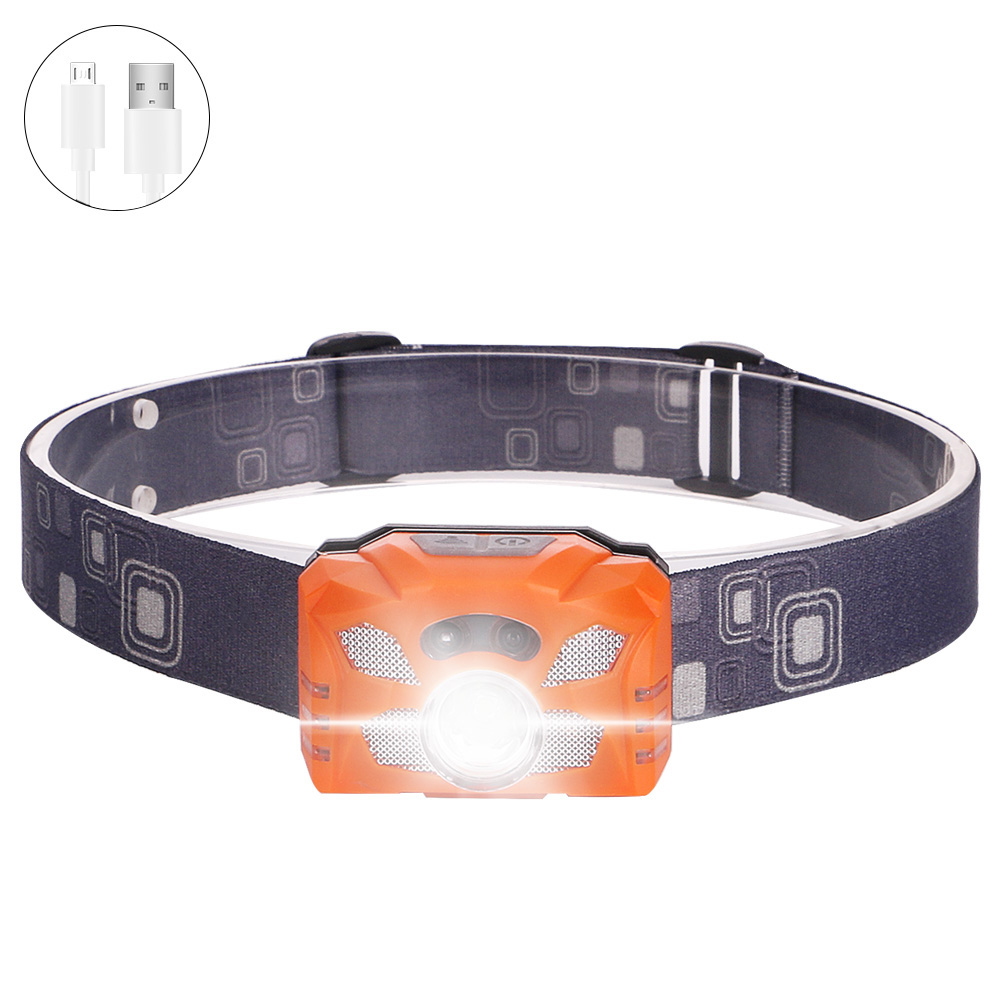 Xpe  Headlamp Usb Charging Working Lamp 60xc2xb0 Rotation Flashlight Outdoor Waterproof Emergency Light Orange