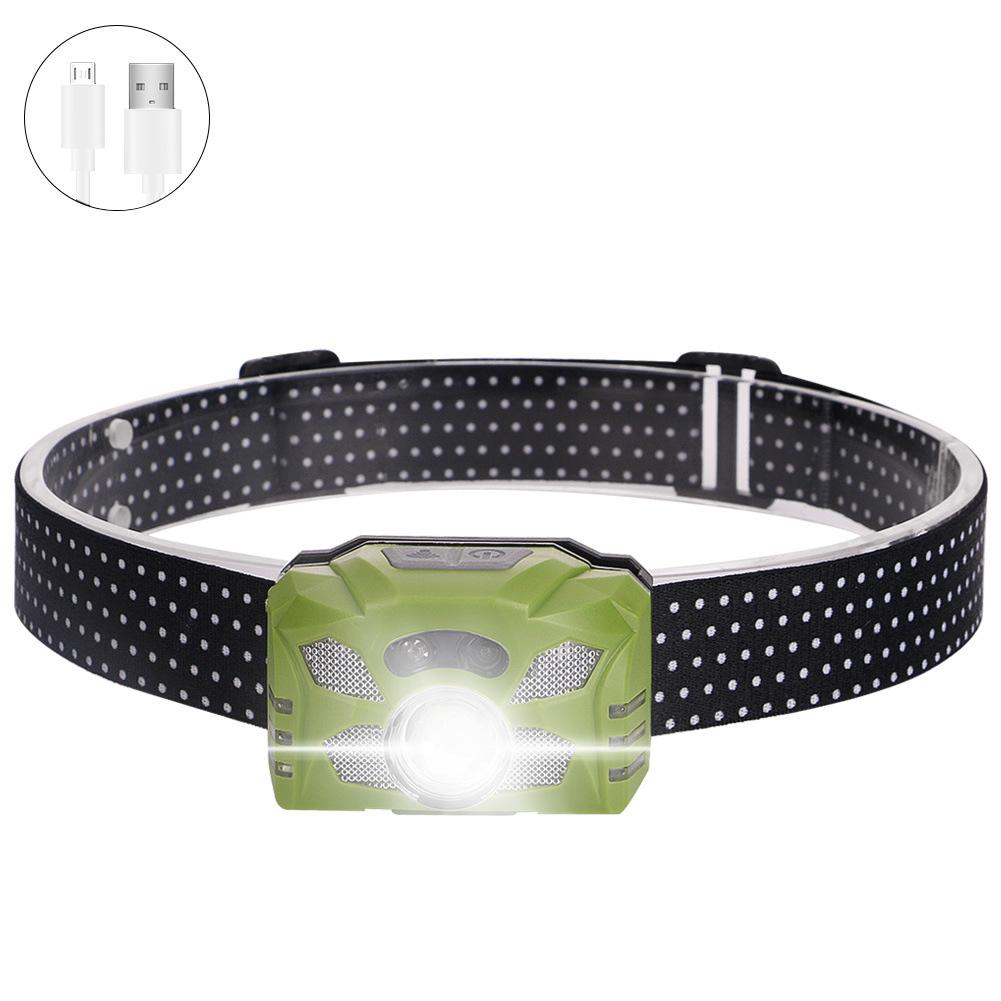 Xpe  Headlamp Usb Charging Working Lamp 60xc2xb0 Rotation Flashlight Outdoor Waterproof Emergency Light Green