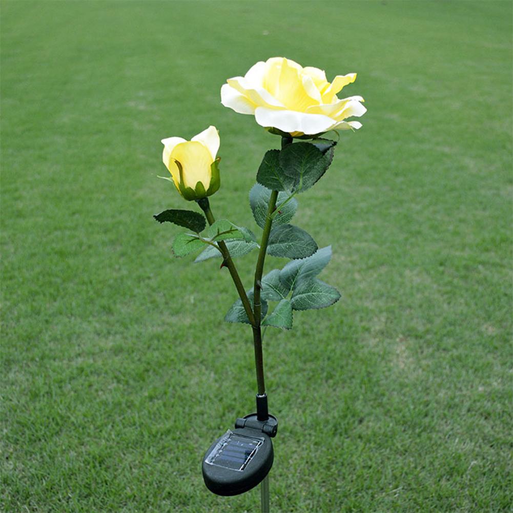2LED Waterproof Solar-powered Rose Lawn Pin Lamp Outdoor Landscape Light Yard Garden Decoration (2 Rose Head per Lamp) yellow flower head white light