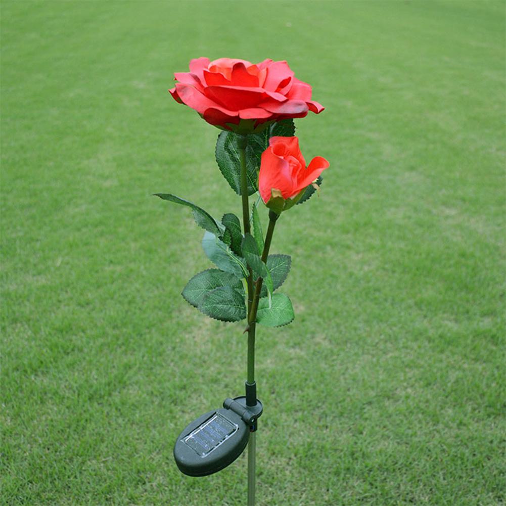 2LED Waterproof Solar-powered Rose Lawn Pin Lamp Outdoor Landscape Light Yard Garden Decoration (2 Rose Head per Lamp) red flower head white light