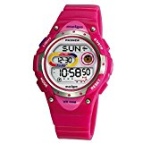[EU Direct] Pasnew LED Waterproof 100m Sports Digital Watch for Children Girls Boys (Pink)