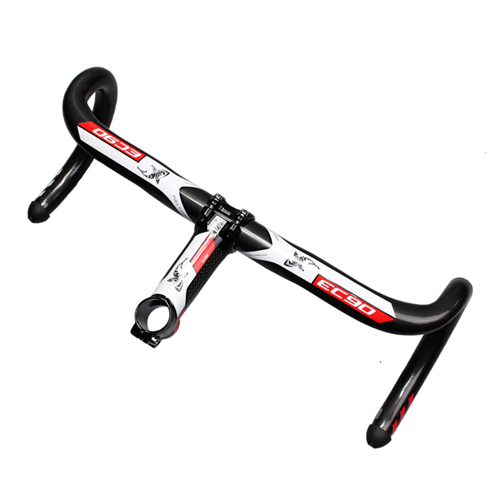Carbon Fiber Mountain Bike Highway Curved Handle UD Grooves Carbon Fiber Curved Handle red_440mm