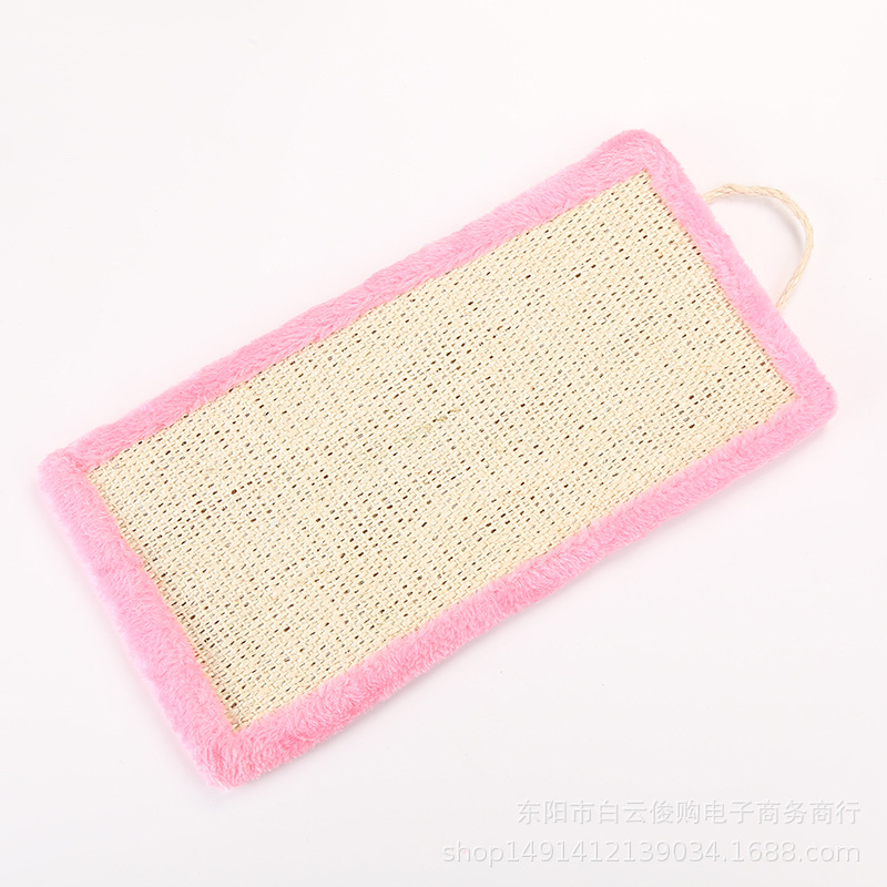 Square Sisal Scratching Board Bite Resistant Plush Hanging Toy for Pet Cat  Pink_40cm long and 20.5cm wide