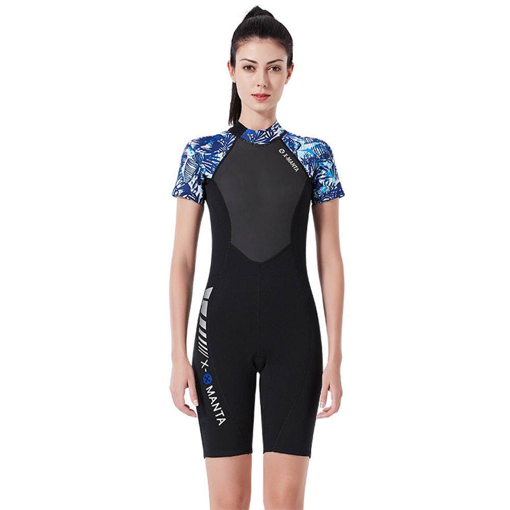 Diving Suit for Men 1.5MM Siamese Short Sleeve Female Surfing Warm Swimwear Female black/blue_XL