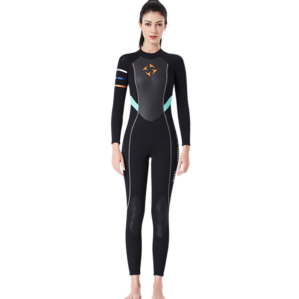 3MM Diving Suit Women Siamese Long Sleeve Warm Outdoor Coldproof Winter Diving Suit black_M