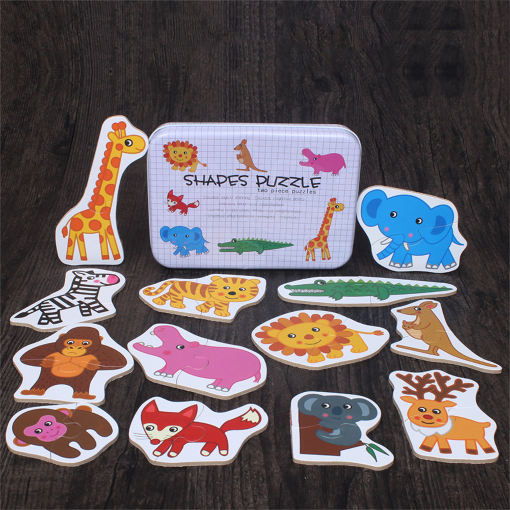 Baby Kids Cognition Puzzle Toys Toddler Iron Box Cards Matching Game Cognitive Card  animal