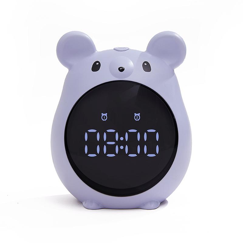 Cute Mouse Shape Alarm  Clock Rechargeable Voice Control Clock For Students blue