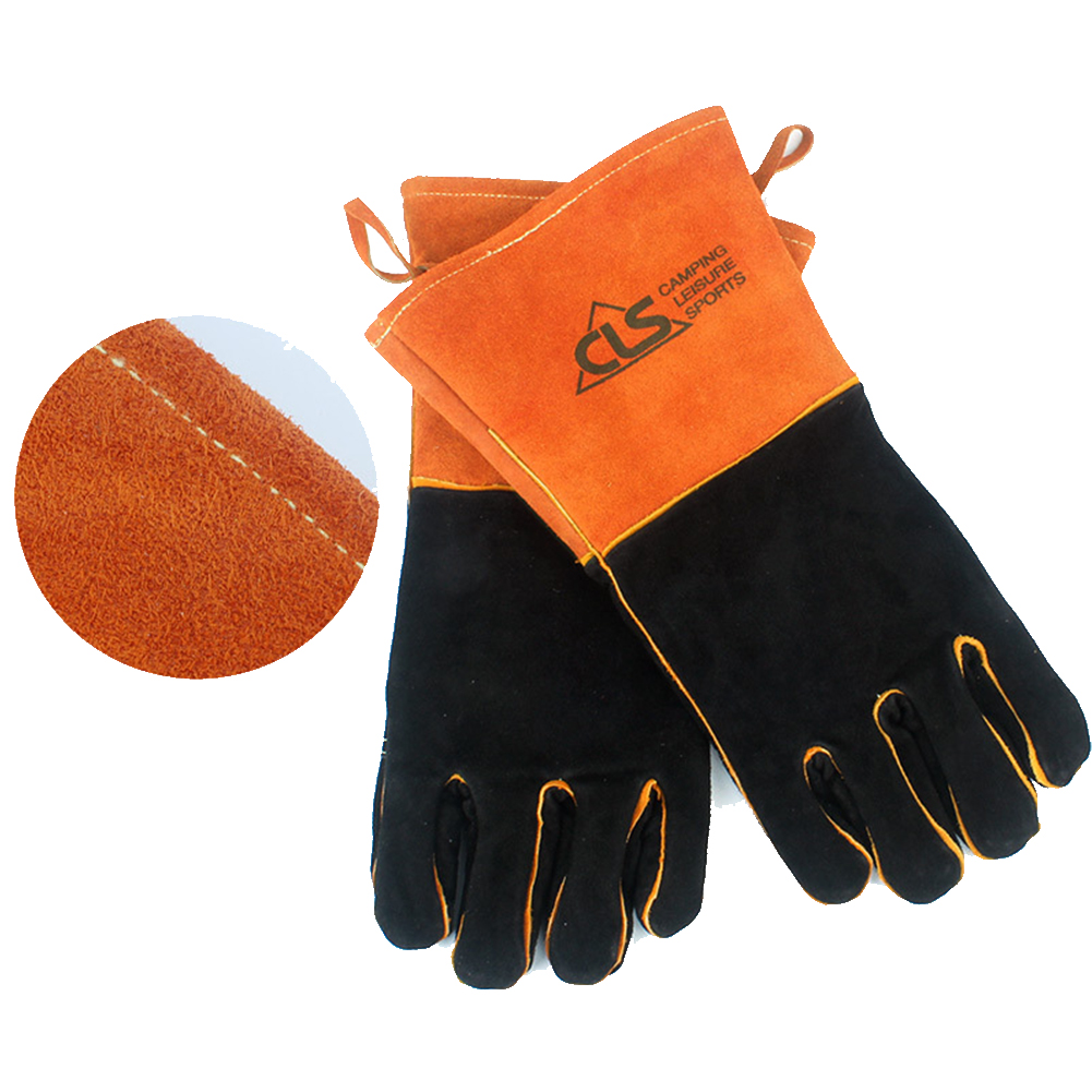 Outdoor BBQ Gloves Camping Barbecue Heat Resistant Thickened Welding Protective Gloves Orange