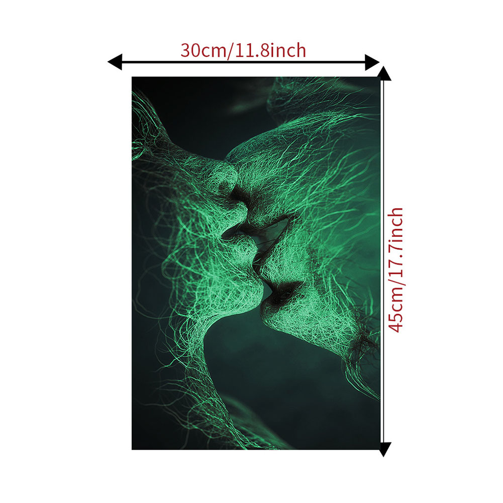 Kiss Luminous Wall Sticker Glow In The Dark Home Decor Stickers Room Wall Decal Art Nature Home Decor AFG3308L