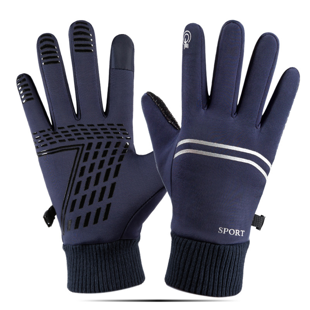Winter Warm Gloves Waterproof windproof Outdoor Gloves Thicken Warm Mittens  touch screen Gloves Unisex Men Sports Cycling Glove  blue_One size