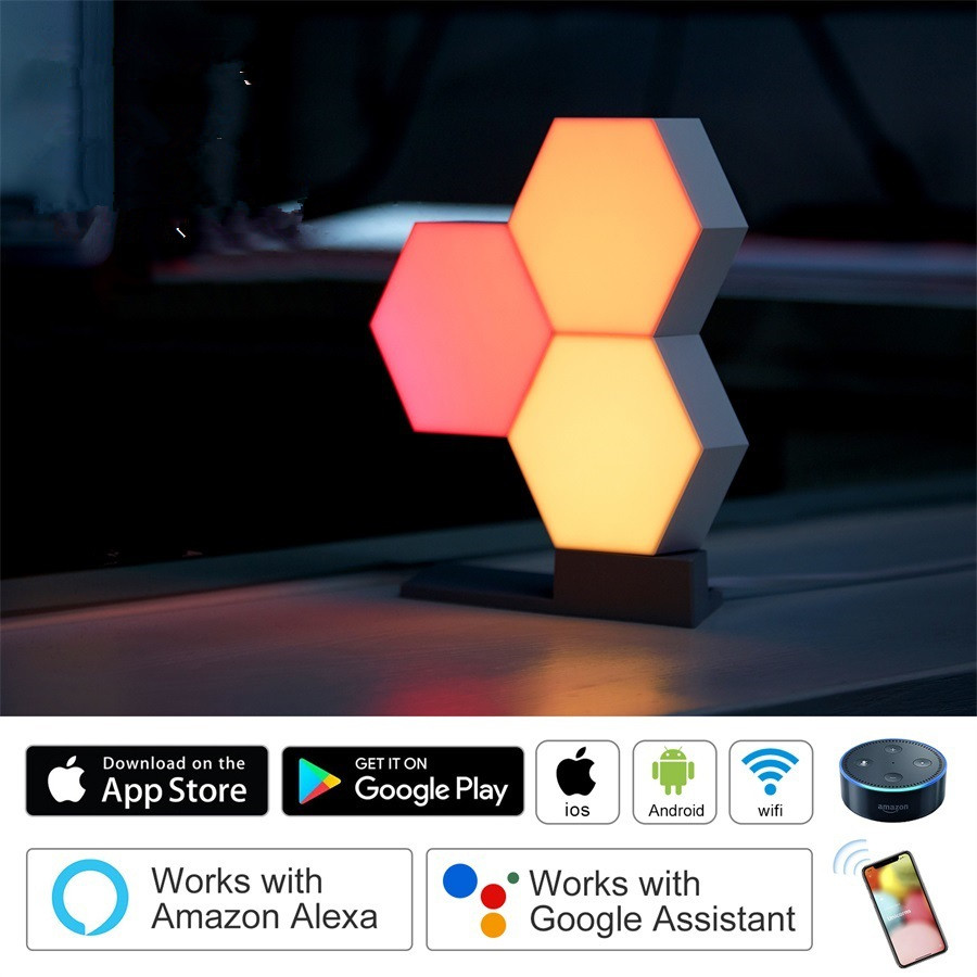 6PCS LED DIY Assembly Smart APP Control Night Light Wall Lamp for Home Decor USB interface