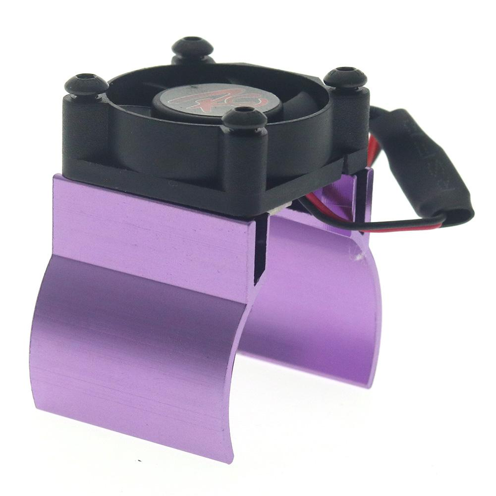 Rc Parts Motor Heat Sink + Thermal Induction Cooling Fan for 1:10 Hsp Trx-4 Trx-6 Scx10 Rc Car 540 550 36mm Size Motor Radiator purple