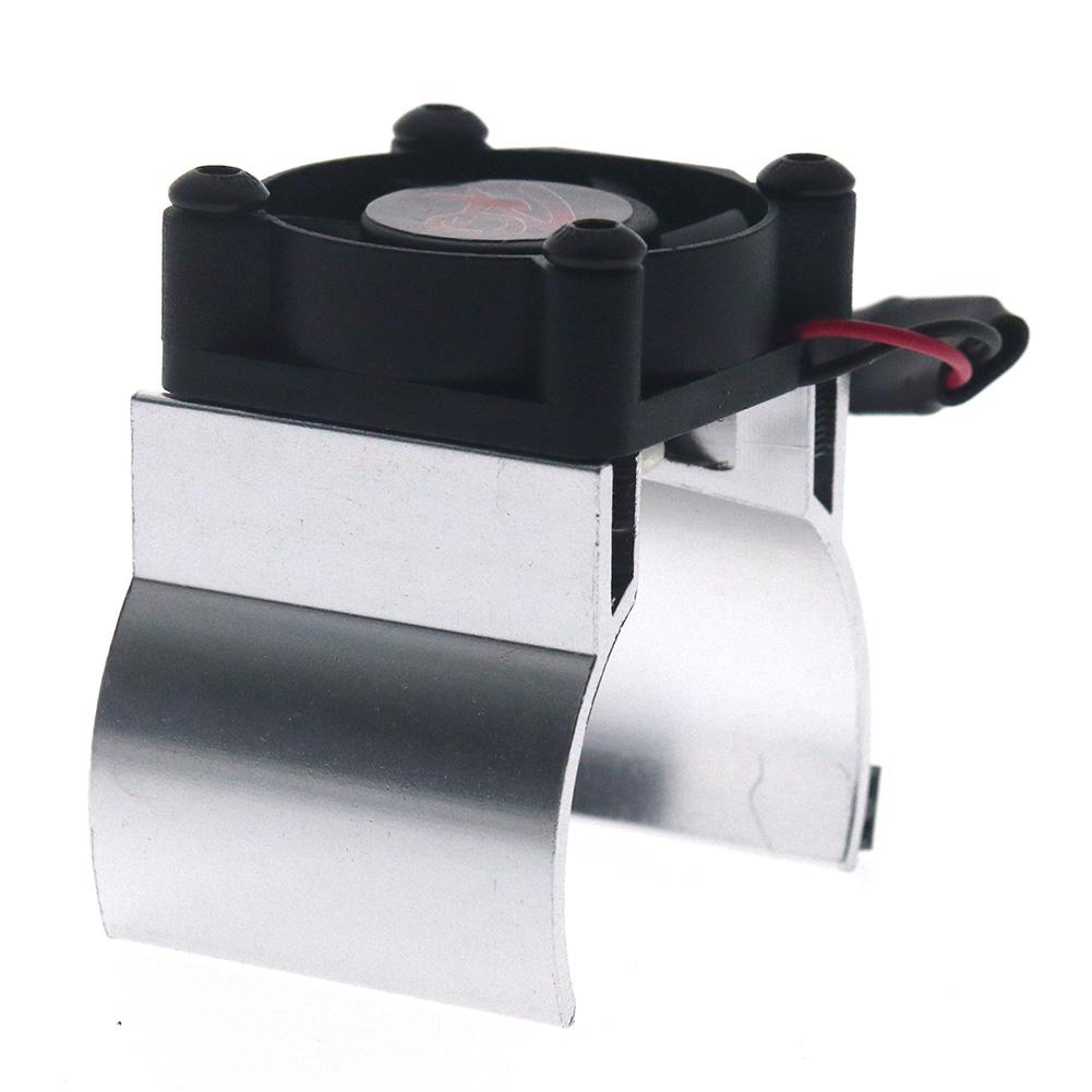 Rc Parts Motor Heat Sink + Thermal Induction Cooling Fan for 1:10 Hsp Trx-4 Trx-6 Scx10 Rc Car 540 550 36mm Size Motor Radiator Silver