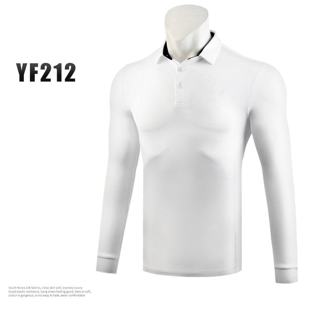 Golf Autumn Winter Clothes for Men Long Sleeve T-shoirt Pure Color Ball Uniform white_L