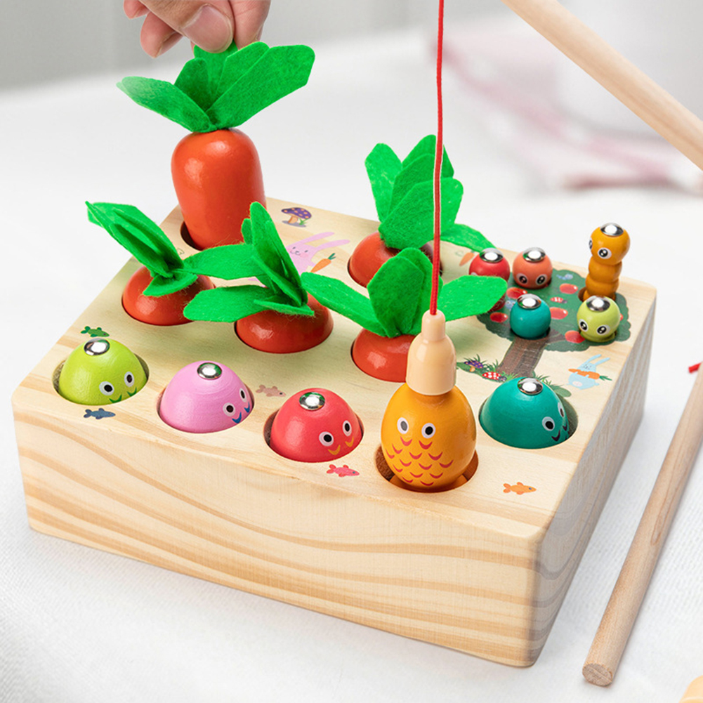 3-in-1 Catching  Game Toy Radish Pulling Fishing Insect For Children Early Education Educational Wooden  Toys Wood color