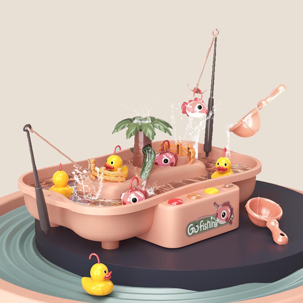 Child Toy Magnetic Fishing Music Electric Circulation Fishing Duck Fishing Platform Water Play Game Toys 888-58 Fishing fish + Duck--Pink