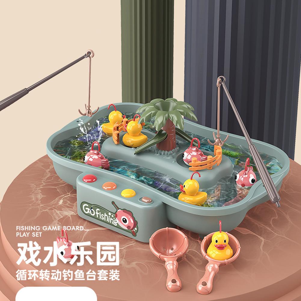 Child Toy Magnetic Fishing Music Electric Circulation Fishing Duck Fishing Platform Water Play Game Toys 888-58 Fishing fish + Duck--Blue