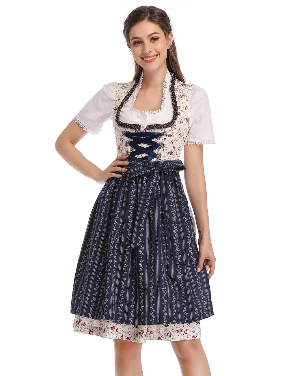 KOJOOIN Women's 3-Piece Vintage Stand Collar Floral German Oktoberfest Dirndl Dress