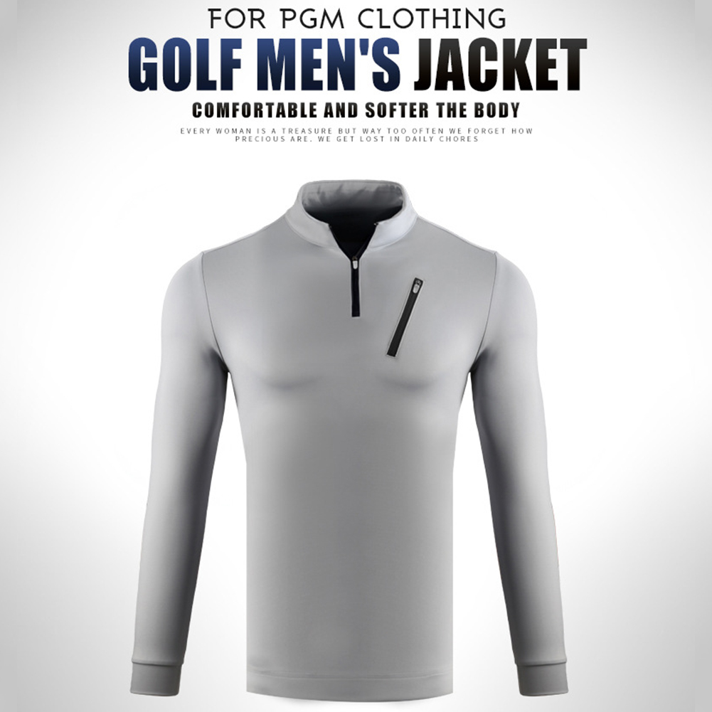 Male Golf Autumn Winter Clothes Stand Collar Long Sleeve T-shirt Windproof Warm Suit YF213 gray_XL