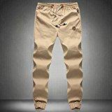 PS Men`s Hemp Cotton Natural Eco Lounge Pants Elastic Drawstring Trousers Khaki 5X-large