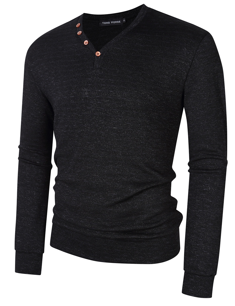 [US Direct] Yong Horse Men's Textured Slim Fit Long Sleeve V Neck Casual Henley Shirt with 4-Button Decor Black_XL